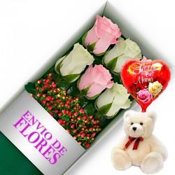 CAJA DE 6 ROSAS ROSADAS Y BLANCAS MAS PELUCHE Y GLOBO DÍA DE LA MADRE