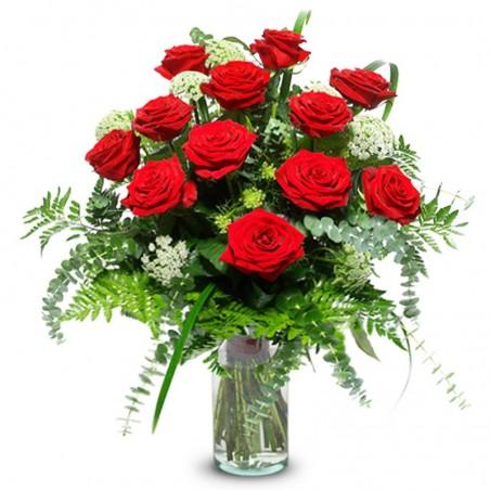 Florero de Rosas Rojas - 12 Rosas