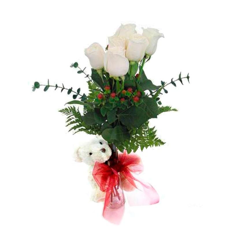 Florero con 6 Rosas Blancas + Peluche