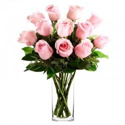 Florero de 12 Rosas Rosa