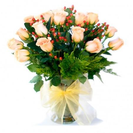 Florero de Rosas Damasco - 24 rosas