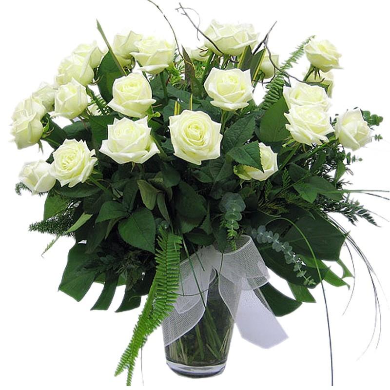 Florero de Rosas Blancas - 24 Rosas