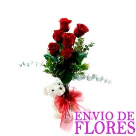 Florero con Rosas Rojas Mas Peluche - 6 rosas