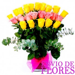 Florero de Rosas Amarillas y Rosadas - 24 rosas