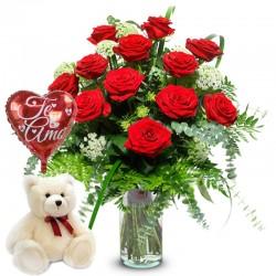 Florero con 12 Rosas + Peluche + Globo