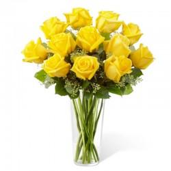 Florero con Rosas Amarillas - 12 Rosas