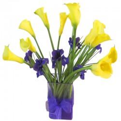 Florero de Calas Amarillas mas Iris Morado