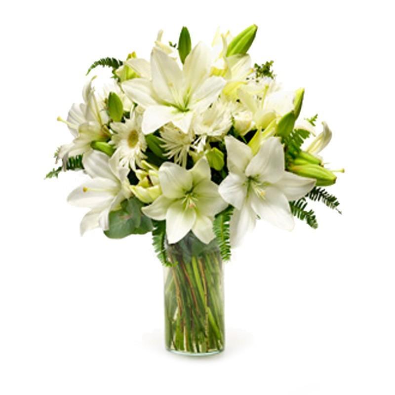Florero con Flores Lilium Blancos