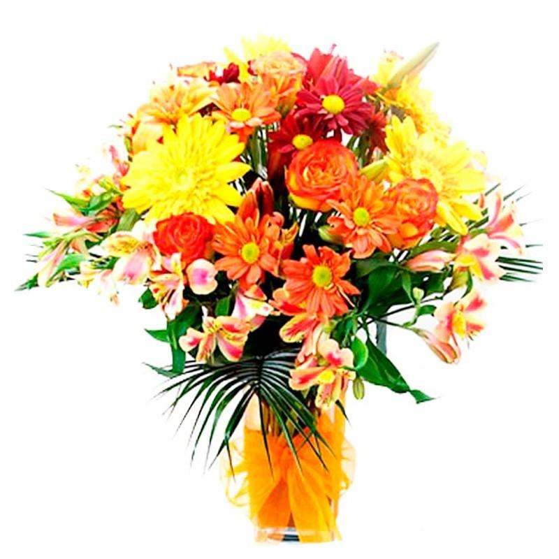 Florero con Flores Amarillas y Naranjas