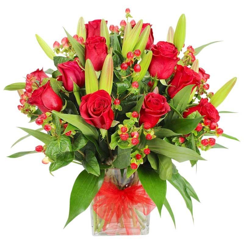 Florero con Rosas y Liliums Rojos
