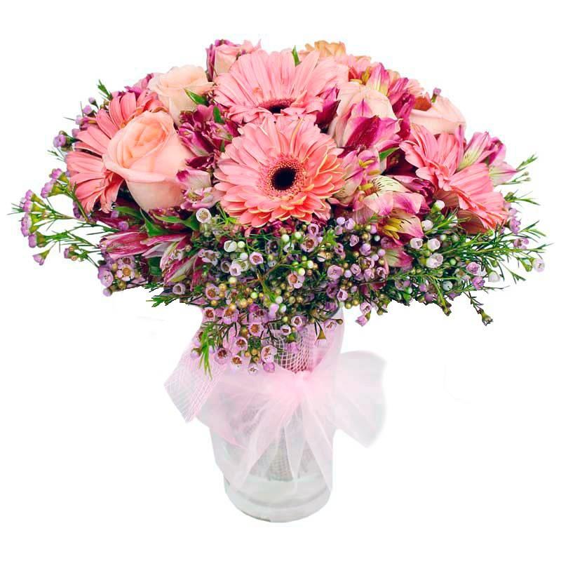 Florero con Flores Rosas y Gerberas