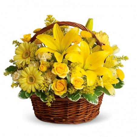 Cesta de 12 Rosas Flores y Liliums Amarillas