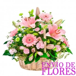 Cesta de Flores Grande con  Gerberas y Liliums Rosadas
