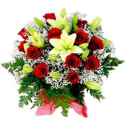 Cesta de 12 Rosas Rojas y Liliums