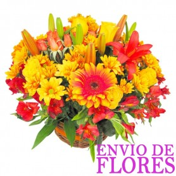 Cesta Gerberas Liliums tonos Naranjos Mix Verano