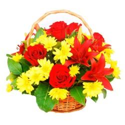 Cesta Rosas y Lilium Rojos