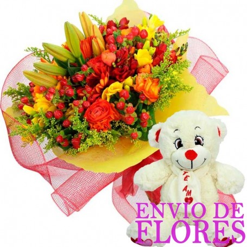 Ramo de Flores Primaverales + Peluche
