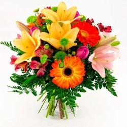Ramo de Flores Mix en Tonos Naranjas Mediano Lillums Gerberas