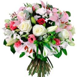 Ramo de Flores Blanco Liliums Rosa con Gerberas y Rosas Blancas