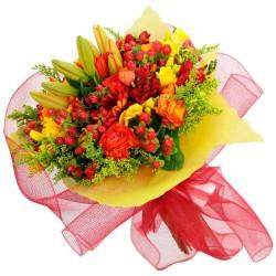 Ramos de Flores Mix Tonos Naranja cion Lilums Rosas y Gerberas más Follaje