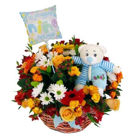 Flores en Canastillo Nacimiento Es Nino Globo y Peluche