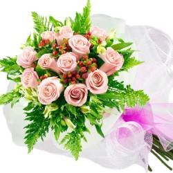 Ramo de Rosas para Nacimiento - 12 Rosas Rosadas