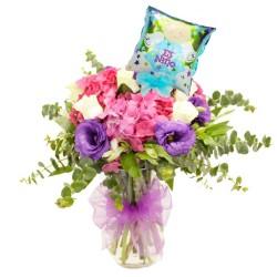 Florero Nacimiento con Hortencias + Globo es un Niño