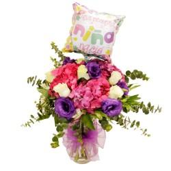 Florero Nacimiento con Hortencias + Globo es un Niña