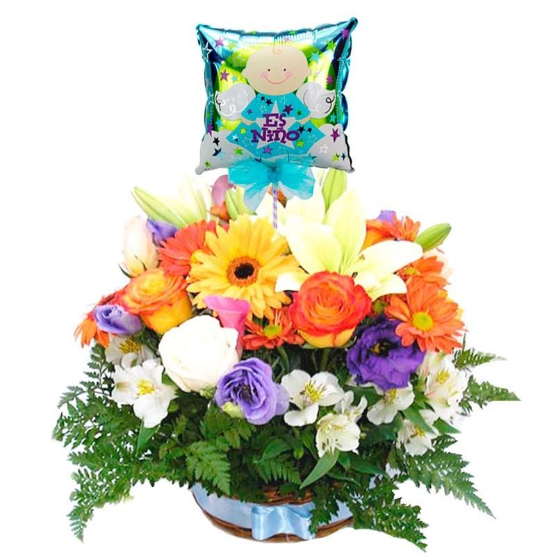 Flores en canastillo para Nacimiento