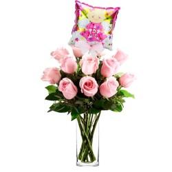 Florero Nacimiento con 12 Rosas Rosadas más Globo es una Niña