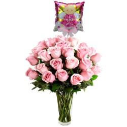 Florero Nacimiento con 24 Rosas Rosadas más Globo es una Niña