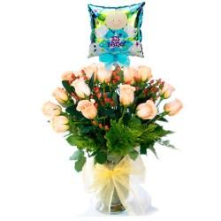 Florero Nacimiento con 24 Rosas Damasco más Globo es un Niño