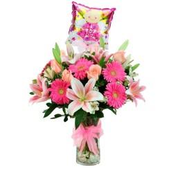 Nacimiento Florero con Rosas y Liliums en Tonos Rosados más Globo para Niña