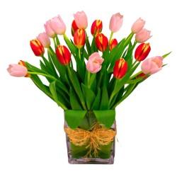 Florero con 20 Tulipanes Rosados y Naranjos para Nacimiento