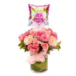 Flores en Florero para Nacimiento + Globo es una Niña