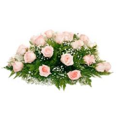 Ovalo con 25 Rosas Rosadas para Condolencia