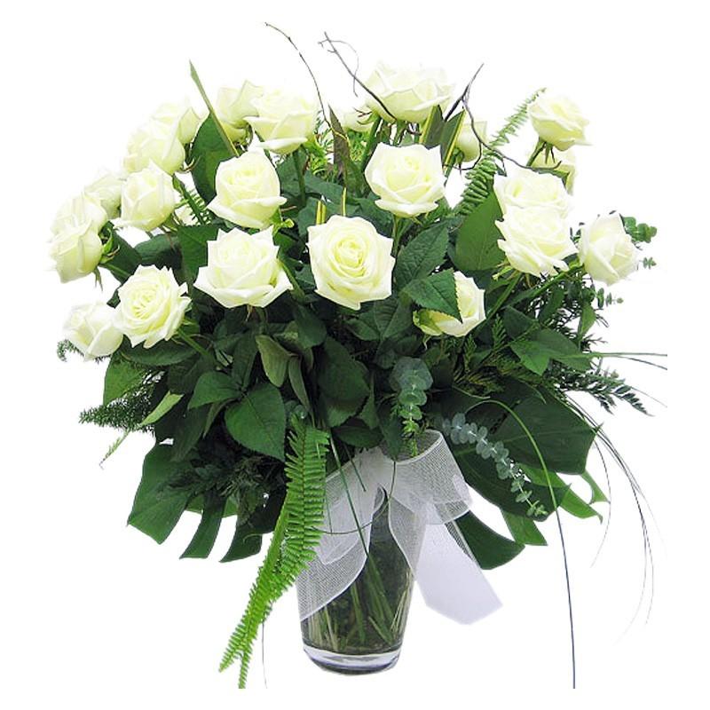 Florero 24 Rosas Blancas para Condolencias
