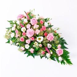 Arreglo de Flores para Condolencia con Rosas Rosadas + Flores Mix