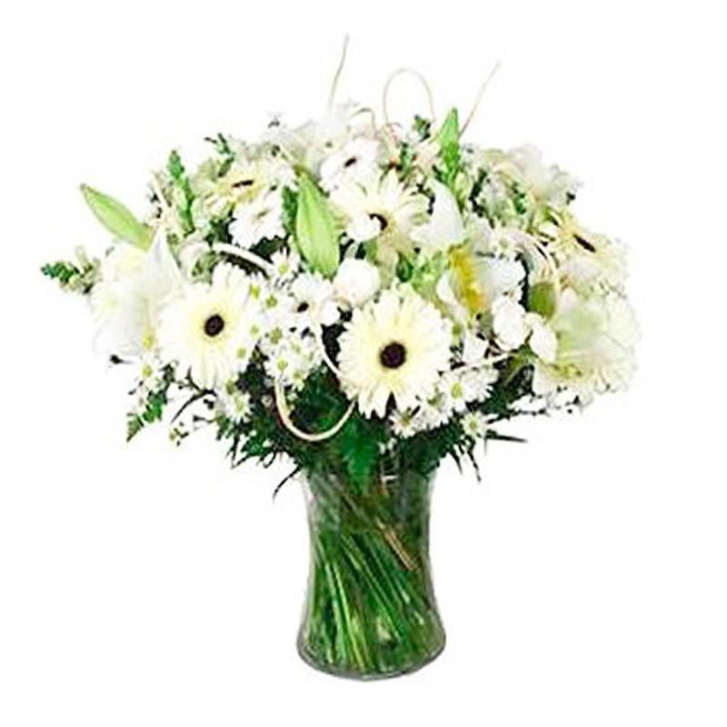 Florero de Flores para Condolencias con Gerberas y Lilums Blancos