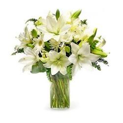 Florero de Flores para Condolencias con 15 Varas de Lilums Blancos