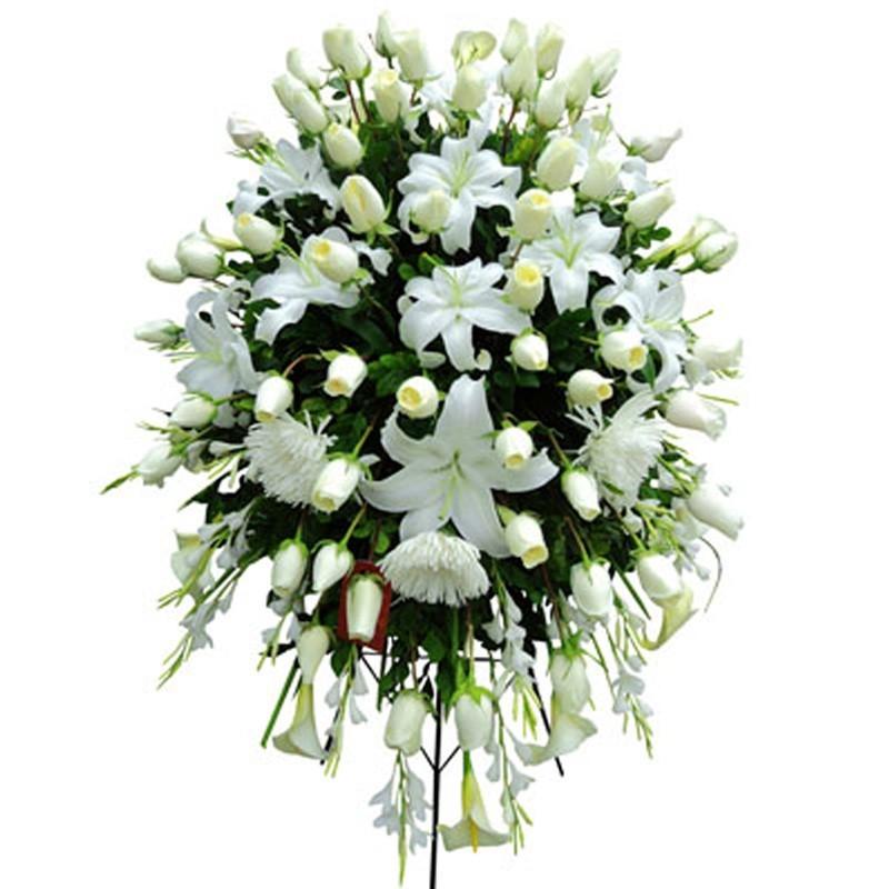 Flores Condolencias Grande 60 Rosas Blancas y 20 Varas de Liliums