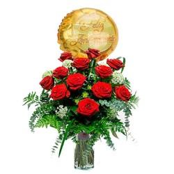 Flores Para Aniversario 12 Rosas Rojas con Globo