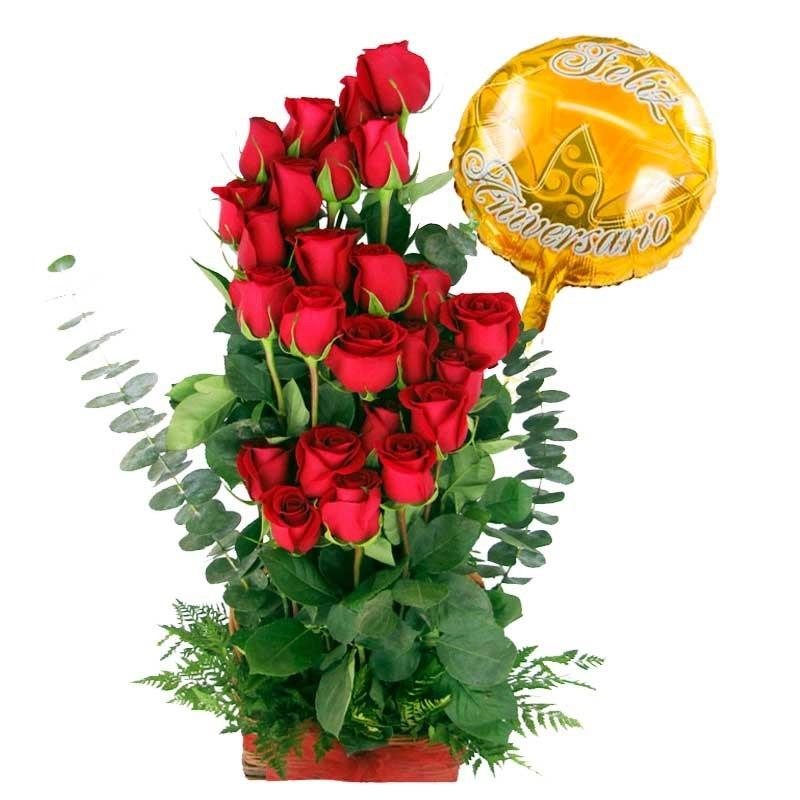 Canastillo para Aniversario Rosas Ascendentes