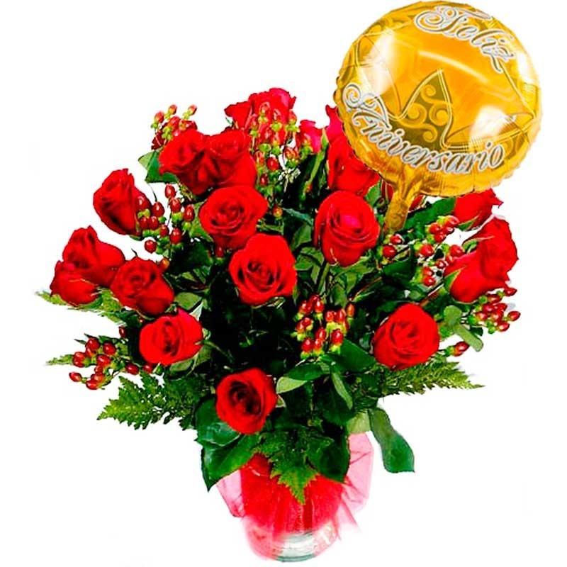 Flores para Aniversario 24 Rosas con Globo