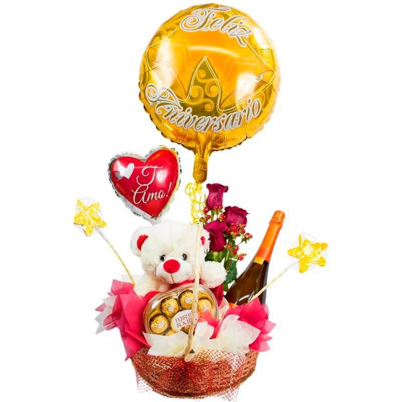 Cesta para Aniversario con Florero Con 3 rosas Champagne Peluche Chocolates Globos Mediano y Grande