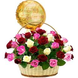 Cesta de Aniversario con 40 Rosas Rojas y Rosadas + Globo Aniversario