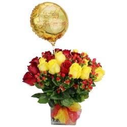 Florero con 24 rosas rojas y Amarillas + Globo feliz Aniversario