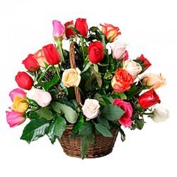 Cesta Rosas Multicolor 24 Rosas