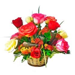 Cesta de Rosas Multicolor 12 rosas
