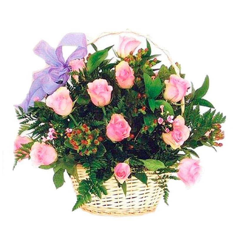 Cesta de Rosas Rosadas - 12 Rosas